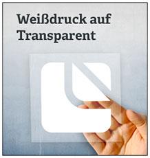 Weissdruck auf Transparent
