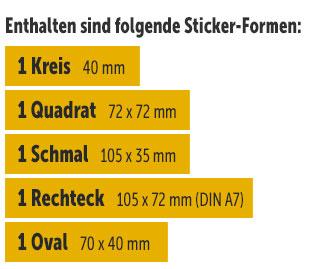 3 Grundformen-Sticker und 2 Freiformen-Sticker