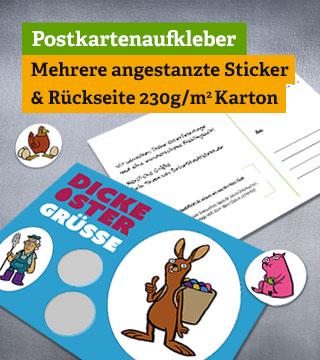 Angestanzte Postkartenaufkleber