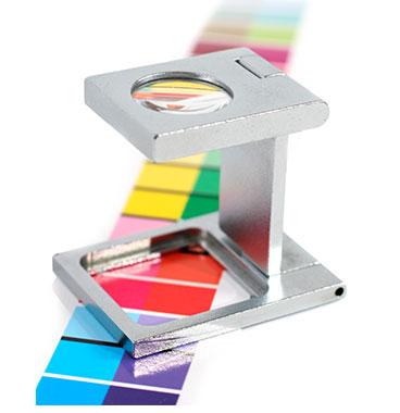 Fadenzähler und farbiger Testdruck