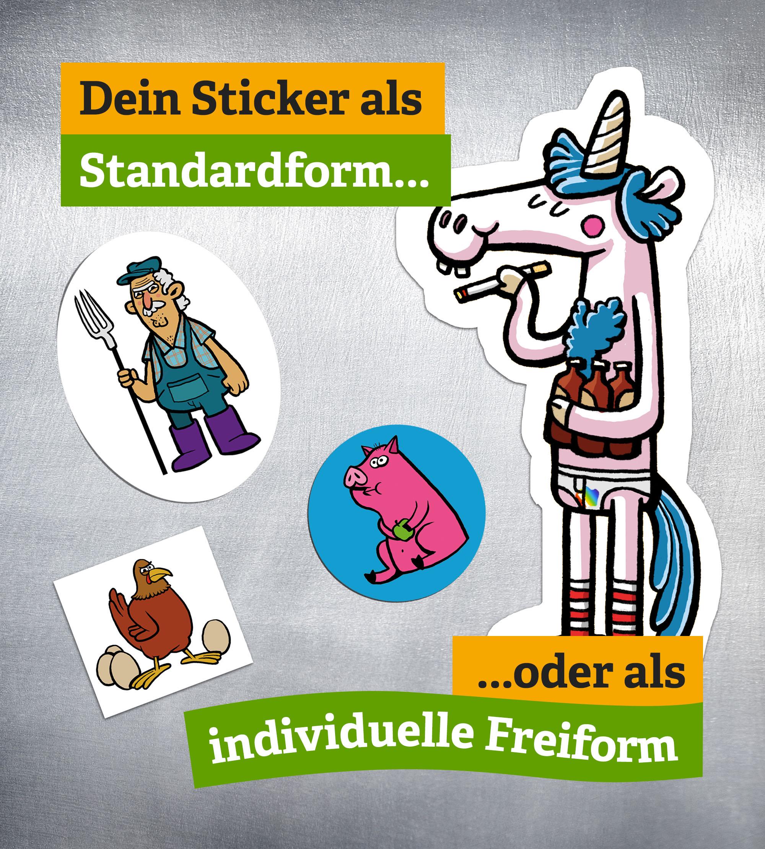 Standardform und Freiform-Sticker